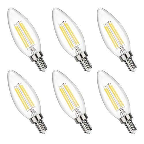4 Pack 4w Led Filament Candelabra Bulb 40w Incandescent: Filament Candle LED Bulbs, 40W Equivalent, 4W 4000K