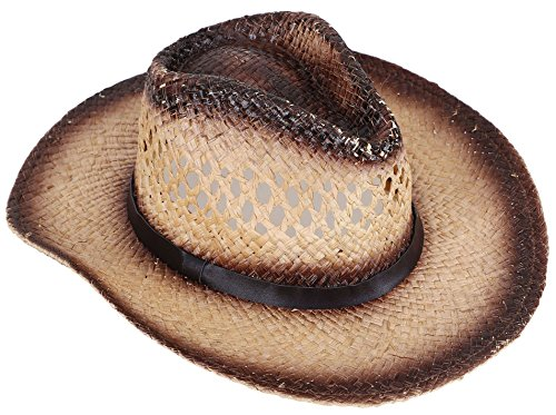 Straw Cowboy Hat W/ Vegan Leather Band & Beads, Shapeable