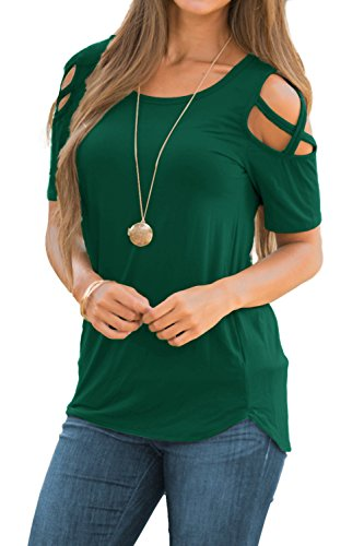 ceca59d19 Adreamly Women's Casual Summer Short Sleeve Loose Strappy Cold Shoulder Tops  Basic T Shirts Blouses Dark Green Large