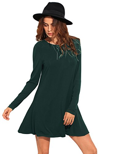 b60f7489f1a5b ... Women's Casual Long Sleeve T-Shirt Swing Loose Tunic Dress. Clothing,  Shoes & Jewelry. Size chart: x-small: Bust: 33. 1 inch, length: 31. 9 inch,  sleeve ...